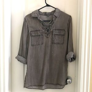 Grey denim lace-up blouse with pockets